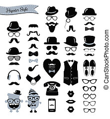 hipster, retro, vendemmia, icona, set