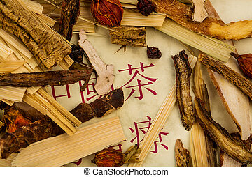 tea for traditional chinese medicine - ingredients for a cup...