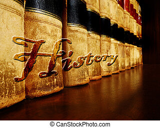Old Leather History Books on Shelf