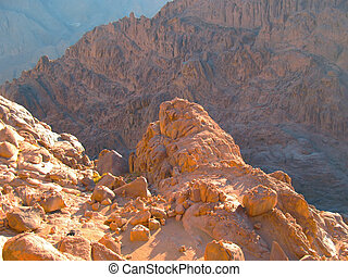 View from the top of Sinai mountain, Egypt