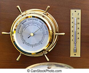 Barometer - Retro style brass barometer and thermomether...