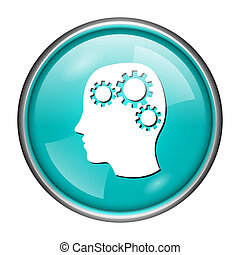 Brain icon - Round glossy icon with white design on aqua...