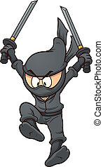 Cartoon ninja jumping Vector clip art illustration with...