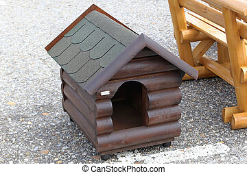 Dog house - New dog house made from log wood