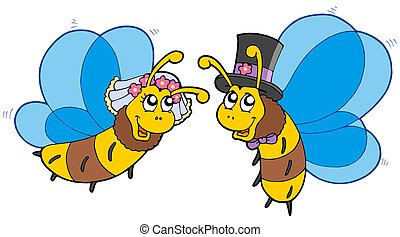 Honey bees wedding couple - isolated illustration.