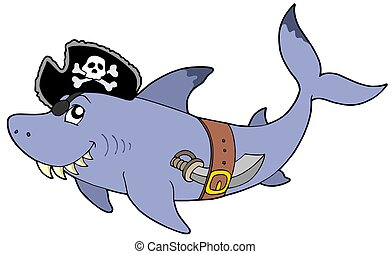 Cartoon pirate shark - isolated illustration.