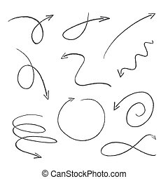 set of black sketch arrows