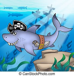 Cartoon pirate shark with shipwreck - color illustration.