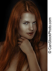 Very redhead girl - Fashion portrait of young gorgeous...