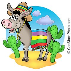 Mexican donkey in desert - color illustration.