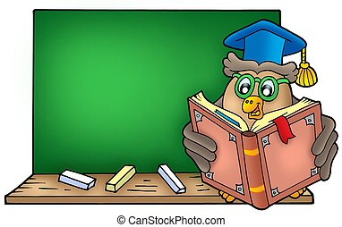 Owl teacher reading book on blackboard - color illustration.