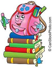 Pink school bag on books - color illustration.