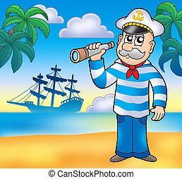 Sailor with spyglass on beach - color illustration