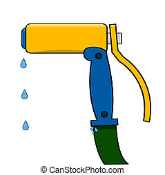 Water gun - Cartoon illustration showing a water gun...