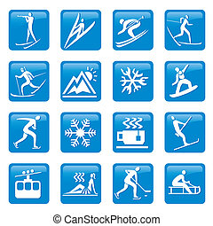 Winter season web icons - Web buttons with Icons and symbols...