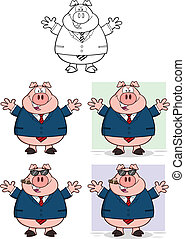 Businessman Pig 2 Collection Set - Businessman Pig Cartoon...