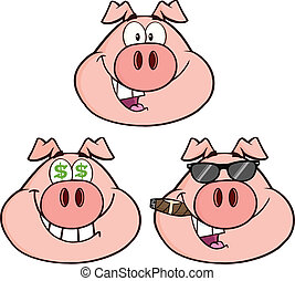 Pig Head 2 Collection Set - Pig Head Cartoon Characters 2...