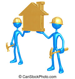 Construction Workers Holding Golden Home - 3D Concept And...