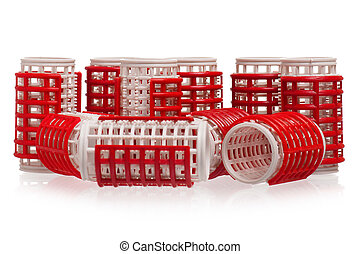 Hair curlers - Red hair curlers, isolated on white...