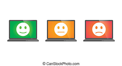 Laptops with survey icons - Illustration of a set isolated...