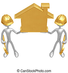 Construction Workers Holding Golden Home