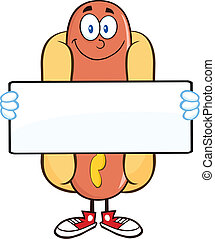 Smiling Hot Dog Holding A Banner - Smiling Hot Dog Cartoon...