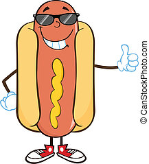 Smiling Hot Dog Cartoon Character - Smiling Hot Dog Cartoon...