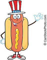 Hot Dog With American Patriotic Hat - Hot Dog Cartoon Mascot...