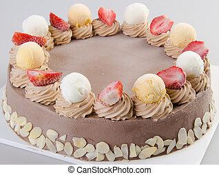 gelo, creme, chocolate, gelo, creme, bolo