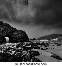 California Pfeiffer Beach in Big Sur State Park dramatic bw...