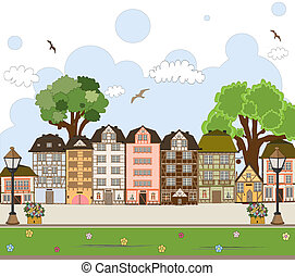 European City Center. Vector Collection.