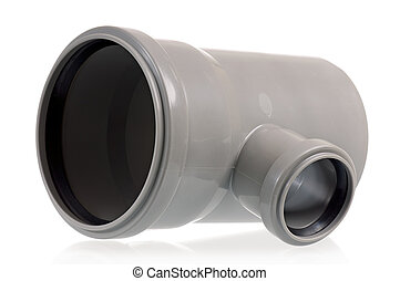 Drain pipe - New grey drain pipe, isolated on white...