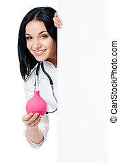 Female doctor - Cheerful young female doctor with enema...