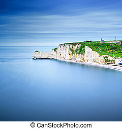 Etretat cliff, rocks landmark and ocean . Normandy, France....