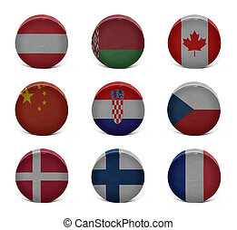 World hockey collage (from A to F) - Vintage old hockey...