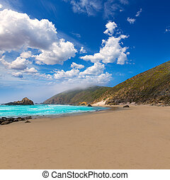 California Pfeiffer Beach in Big Sur State Park rocks and...