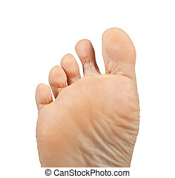 Athlete's foot, Tinea pedis - One foot on a white...