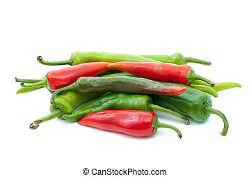 Pile of different hot peppers