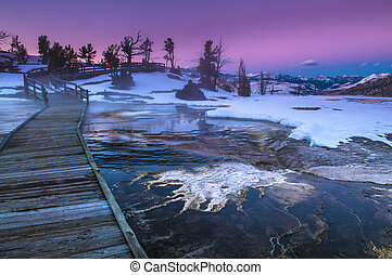 Yellowstone Winter Landscape at Sunset - Beautiful Winter...