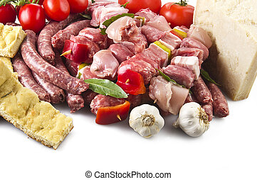 sausage and skewers  meat  pork and chicken