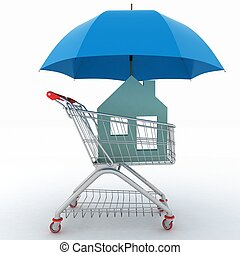 light shopping cart, icon of house and umbrella - Concept of...