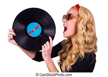 Pin-up girl touching vinyl LP with tongue - Isolated Pin-up...