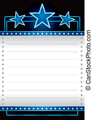 Event poster - Blue neon stars over empty banner