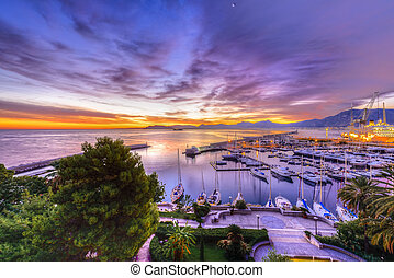 Palermo Harbour at Sunrise - Sunrise at Palermo Harbour with...