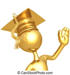 Graduate Waving - 3D Concept And Presentation Figure