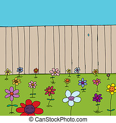 Cute Flowers Near Fence - Cartoon of cute flowers in front...
