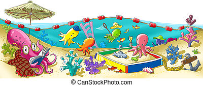 Octopus kindergarten - cheerful kindergarten of octopus on...