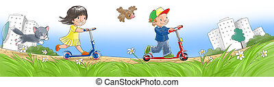 Children on scooters - Happy smiling children ride a scooter...