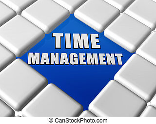 time management in boxes - time management - 3d letters over...