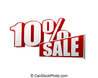 10 percentages sale in 3d letters and block - 10 percentages...